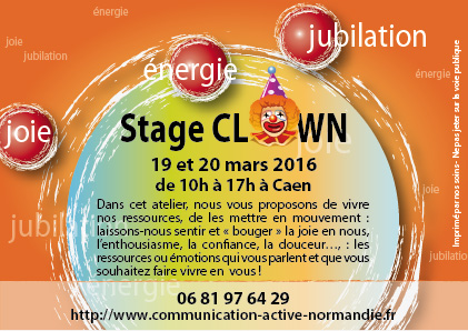 "Flyer ""stage Clown Communication Active"" 100 x 150 mm - Recto"