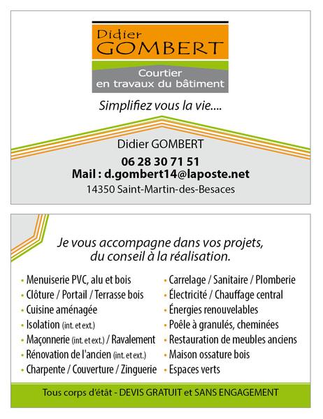 Carte De Visite Didier Gombert 85 X 55 Mm
