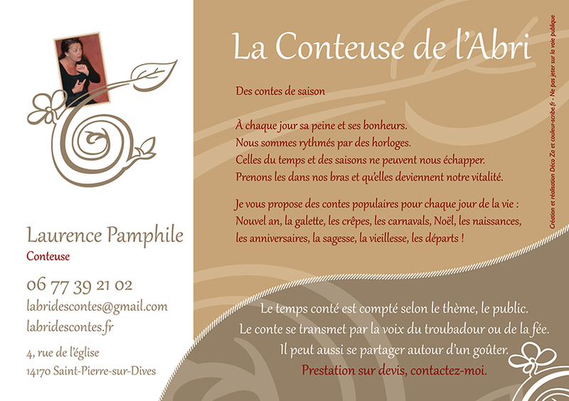 "Flyer A5 ""La Conteuse de l'Abri"" - 150 x 210 mm - Recto"